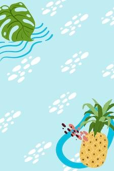 Ananasowa ramka na niebieskim tle nieba