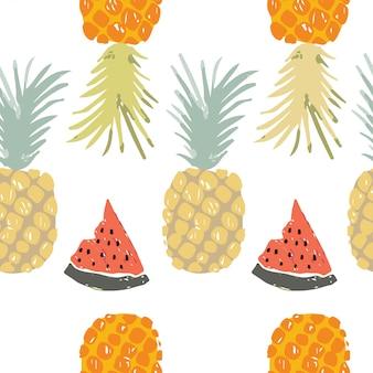 Ananasowy bezszwowy wzór lato