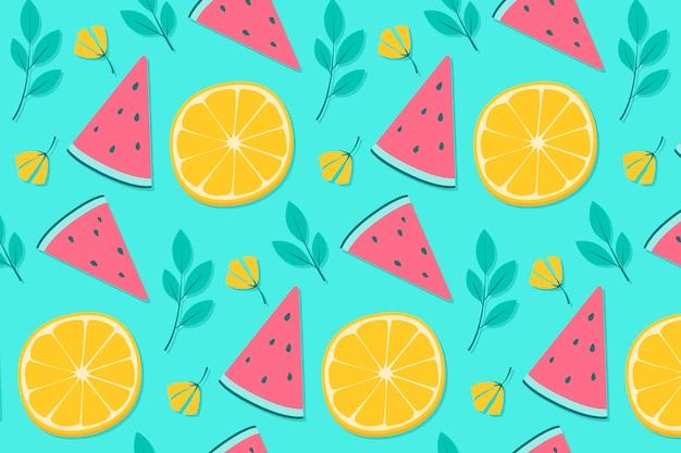 Ananasowy i pomarańczowy lata tła wzór