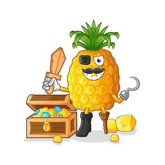 Ananasowy pirat z maskotką skarbów
