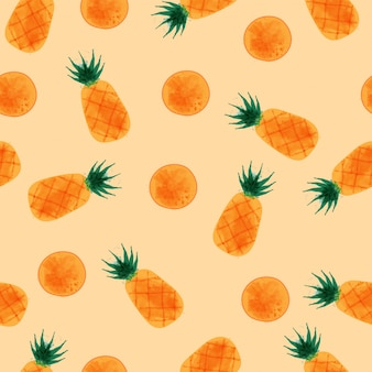 Ananasowy wzór, akwarela ananasa set.