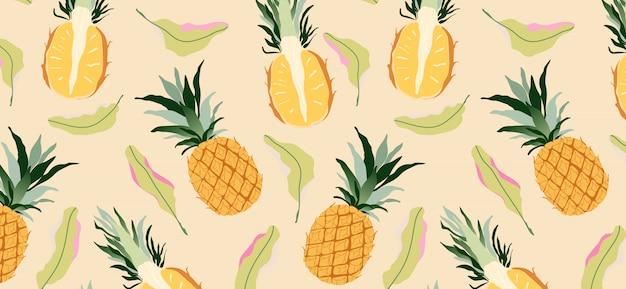 Ananasy i liście na żółty wzór. nowoczesny design owoców tropikalnych