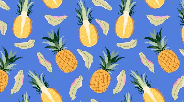 Ananasy i liście wzór. nowoczesny design owoców tropikalnych