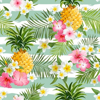 Ananasy i tropikalne kwiaty geometria tło - vintage wzór