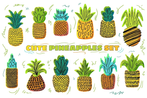 Ananasy wektor ręcznie rysowane zestaw ilustracji. kolekcja owoców tropikalnych na białym tle