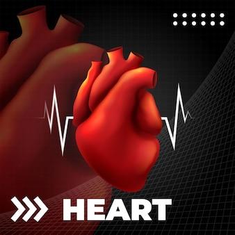 Anatomia ludzkiego serca. szablon medyczny kardiologia anatomiczna