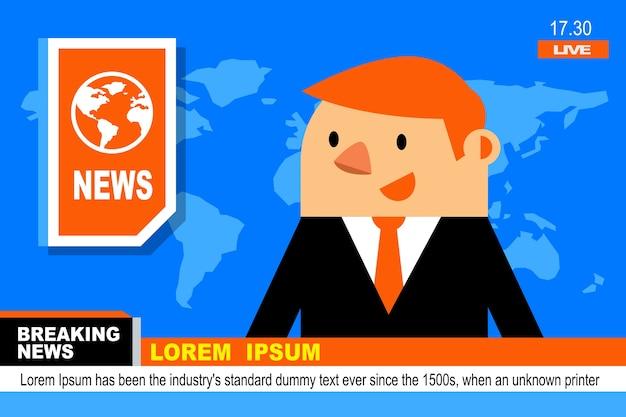 Anchorman w łamaniu news i układ ekranu tv