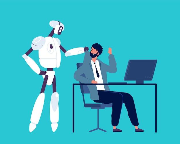 Android i człowiek. robot wyrzuca biznesmena z koncepcji pracy w biurze sztucznej inteligencji.