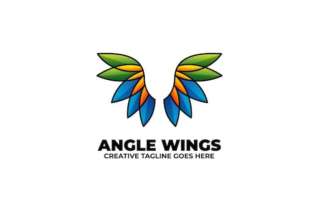 Angel wings kolorowe gradient monoline logo