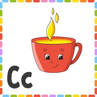 Angielski alfabet. litera c - kubek. abc kwadratowe karty flash.