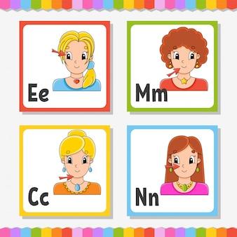 Angielski alfabet. litery e, m, c, n. abc kwadratowe karty flash. postać z kreskówki na białym tle.