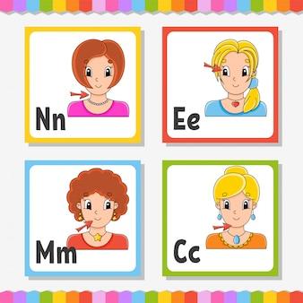 Angielski alfabet. litery n, e, m, c. abc kwadratowe karty flash. postać z kreskówki na białym tle.