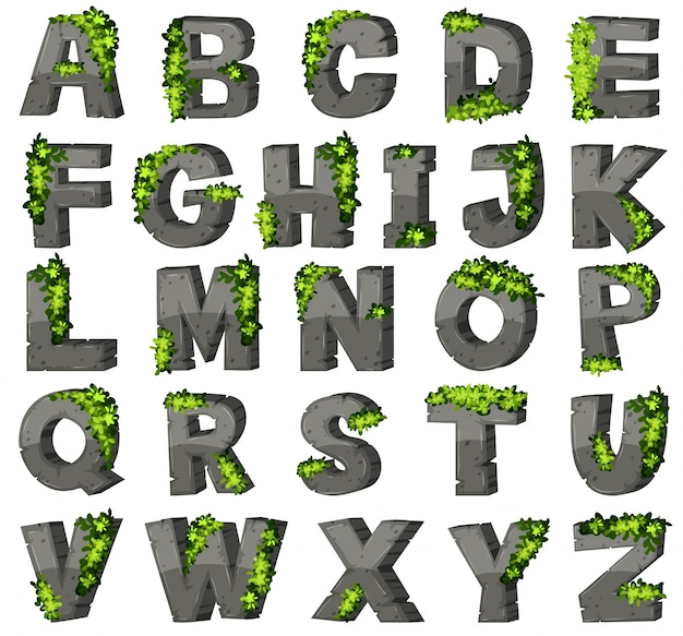 Angielski alfabet z klocków kamiennych
