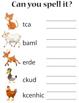 Angielski arkusz roboczy zaklęć zwierzęcych
