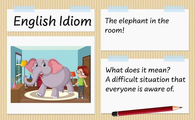 Angielski idiom słoń w szablonie pokoju