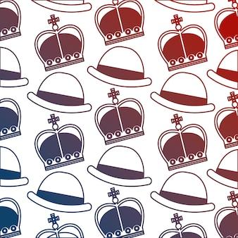 Angielski kapelusz melonik i korony królewskie tło