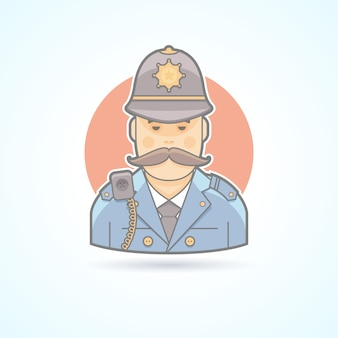 Angielski policjant, ikona brytyjskiego policjanta. avatar i ilustracja osoby. kolorowy styl konturowy.