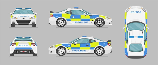 Angielski policyjny samochód sportowy z różnych stron