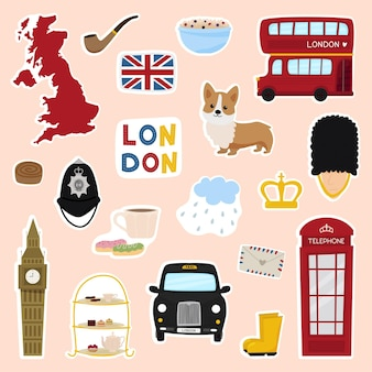 Angielskie naklejki z londyńskim autobusem telefon korona corgi bridge wycieczka bezpieczeństwa do londynu