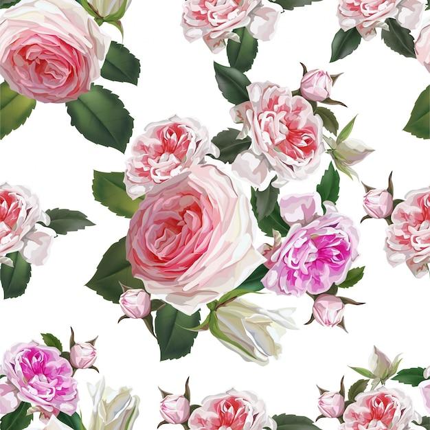 Angielskie róże różowe kwiaty, piękne naturalne kwiaty