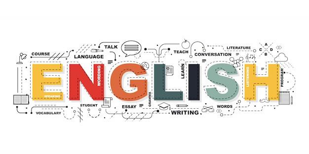 Angielskie słowo na baner edukacji