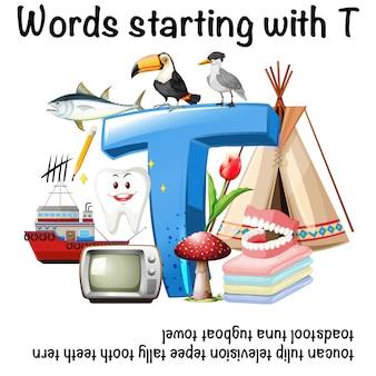 Angielskie słowo rozpoczynające się od t ilustracji