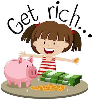 Angielskie zdanie na bogate z dziewczyną i pieniądze na stole