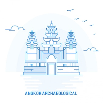 Angkor archaeological blue landmark