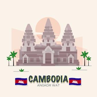 Angkor wat. kambodża punkt orientacyjny. 7 cud świata. zestaw asean.