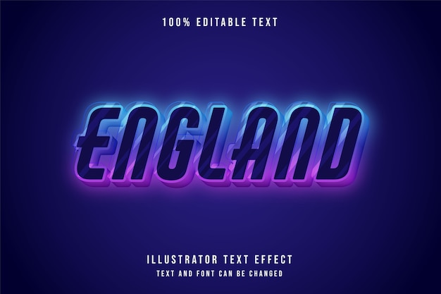 Anglia, 3d edytowalny efekt tekstowy niebieski gradacja fioletowy różowy neon styl