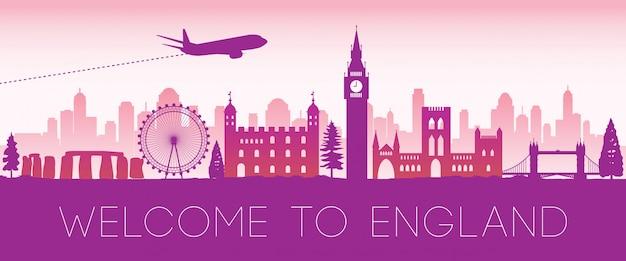 Anglia słynny różowy sylwetka projekt