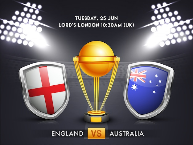 Anglia vs australia, cricket match concept.