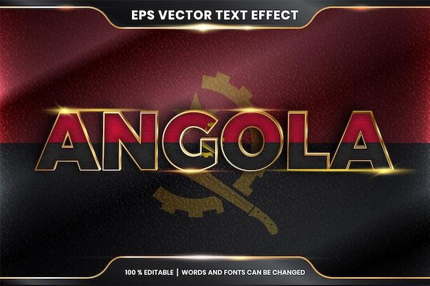 Angola z flagą narodową kraju, edytowalny efekt tekstowy ze złotym kolorem
