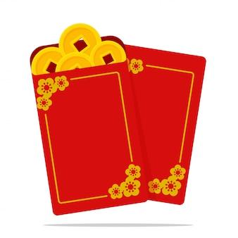 Angpao vector czerwona koperta zawierająca pieniądze dla dzieci podczas chińskiego nowego roku.