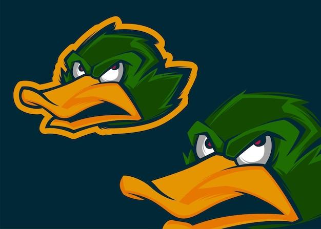 Angry duck head premium ilustracja wektorowa maskotki
