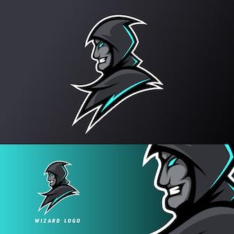 Angry wizard gaming sport esport logo szablon czarny mundur w niebieskim blasku