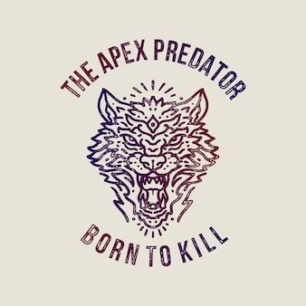 Angry wolf vintage monoline illustration