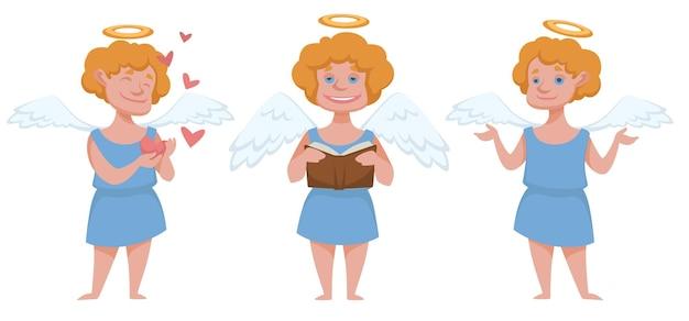 Anielska postać chłopca ze skrzydłami i aureolą, amorek z książką i sercami. emocjonalne dziecko noszące szlafrok. mitologia lub osobistość religijna, boże narodzenie i nowy rok, obchody bożego narodzenia. wektor w stylu płaskiej