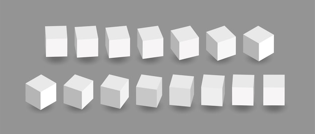 Animacja białych kostek. ikony kostki w perspektywie. geometryczne bloki obracają się z cieniem na szarym tle.