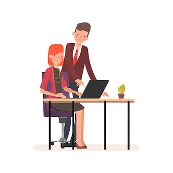Animacja biznes ludzi kolega charakter pracy zespołowej.