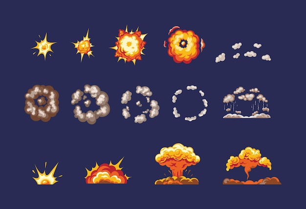 Animacja do gry z efektem eksplozji. wykadruj komiksową animację z efektem zabawnej eksplozji, podzieloną na osobne sceny z oprawioną grafiką. dym ognisty, płonący z elementami płomienia, wektor cząstek
