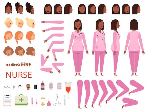 Animacja doktora kobiece. pielęgniarka szpitalna przygotowuje części ciała i odzież do maskotki