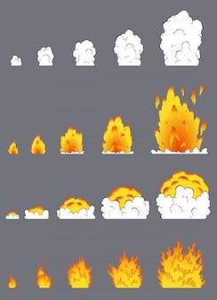 Animacja efektu wybuchu w komiksowym stylu kreskówek. efekt wybuchu kreskówki z dymem do gry. arkusz duszka do wybuchu pożaru kreskówki, animacja efektu gry flash