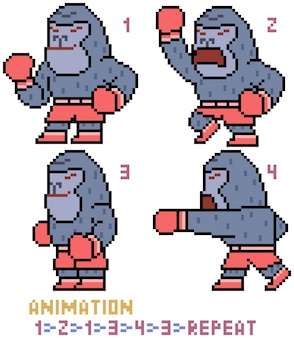 Animacja goryla sztuki pikseli na białym tle