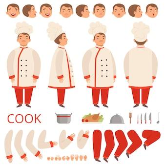 Animacja gotowania. szef kuchni postacie części ciała, ręce, ręce, głowa i ubrania z zestawem narzędzi kuchennych.