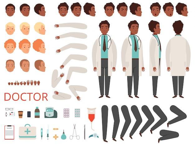 Animacja medyka. postacie doktorskie części ciała personelu medycznego i zestaw do tworzenia ubrań