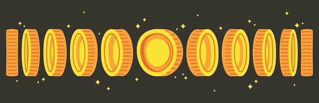 Animacja monet. animowane złote monety z animowanej gry, spin pieniędzy w kasynie lub grach wideo. ilustracje wektorowe kreskówka złote monety gotówkowe