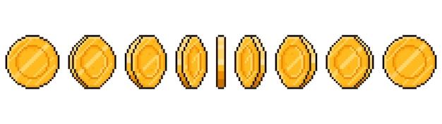 Animacja monety sztuki pikseli. etapy rotacji złotych monet w interfejsie gry, animowane ramki z grami w pikselach