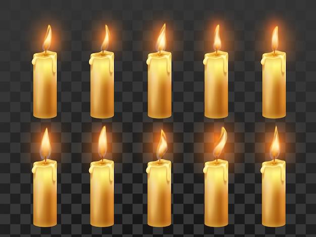 Animacja ognia świecy. palenie świec woskowych pomarańczowych z realistycznym zestawem na białym tle płomień
