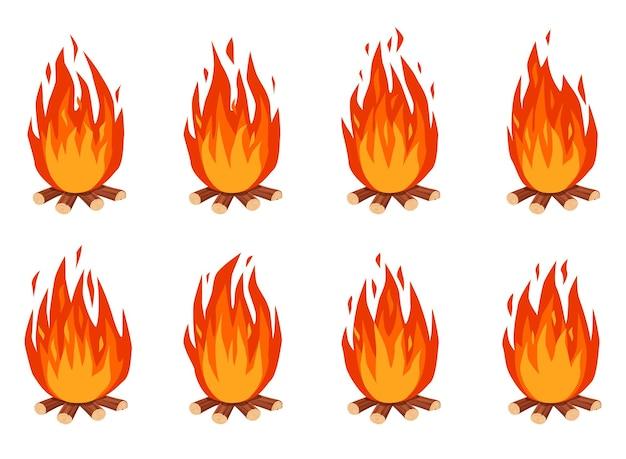 Animacja ogniskowa cartoon palenie ogniska z drewna opałowego. płomienie ognia wywołują animowane klatki duszków